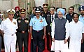 Manmohan Singh and the Defence Minister, Shri A. K. Antony with the Chief of Naval Staff, Admiral Nirmal Verma, the Chief of Air Staff, Air Chief Marshal N.A.K. Browne, the Chief of Army Staff, General V.K. Singh.jpg