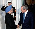 Manmohan Singh being welcomed by the US President, Mr. George Bush at a dinner hosted by him in White House in connection with the Summit on Financial Market and the World Economy, at Washington, USA on November 14, 2008 (1).jpg