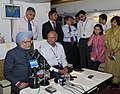Manmohan Singh briefing the accompanying media on board flight to way back to Delhi after attending the Fifth BRICS Summit, on March 28, 2013. The National Security Advisor, Shri Shivshankar Menon is also seen.jpg