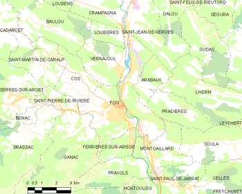 Map of the commune of Foix