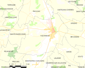 Fleurance - Fleurance and its surrounding communes
