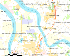 Mapa obce Saint-Vincent-de-Paul