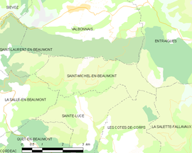 Mapa obce Saint-Michel-en-Beaumont