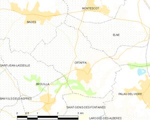 Ortaffa - Map of Ortaffa and its surrounding communes