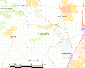 Peyrestortes - Map of Peyrestortes and its surrounding communes