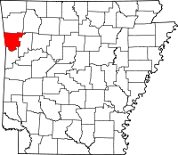Map of Arkansas highlighting Crawford County