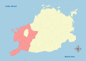 Legislative districts of Bohol - Map of Bohol's First District (1987-present)