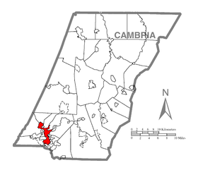 Map of Johnstown, Cambria County, Pennsylvania Highlighted.png