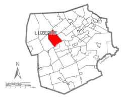 Map of Luzerne County, Pennsylvania Highlighting Hunlock Township
