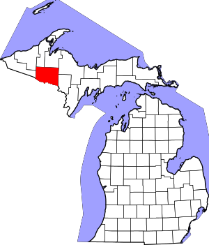 Map of Michigan highlighting Iron County.svg