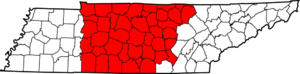 Grand Divisions of Tennessee - Map of Tennessee highlighting Middle Tennessee