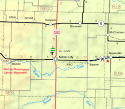 KDOT map of Ness County (legend)