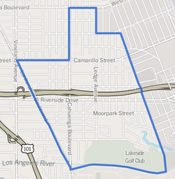 Toluca Lake boundaries as drawn by the Los Angeles Times