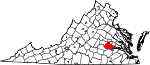 State map highlighting Chesterfield County