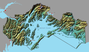 A map showing the extent of the Chugach National Forest