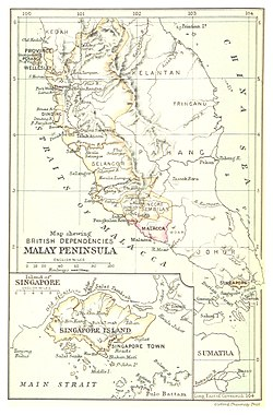 British dependencies in Malaya and Singapore, 1888.