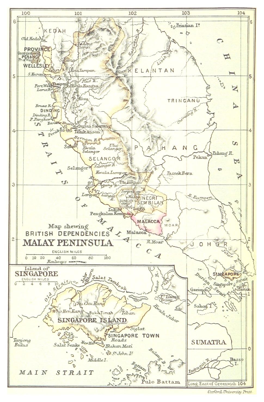 British dependencies in Malaya and Singapore, 1888.