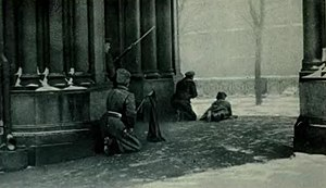February Revolution - Students and soldiers firing across the Moyka at the police