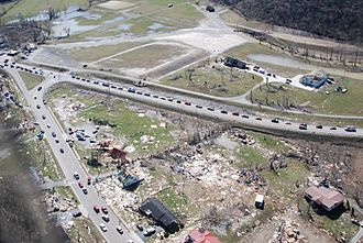 Salyersville, Kentucky - On March 2, 2012, a mile-wide EF3 tornado caused significant damage in Salyersville