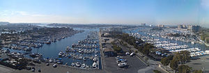 Marina del Rey, California - Panoramic view of the marina from a nearby office building