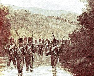 Dutch intervention in Bali (1849) - March of the 7th Battalion near Sangsit.