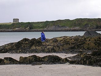 Drumanagh - View from  Loughshinny of Drumanagh with its Martello Tower
