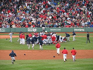 Bench-clearing brawl ritual fight during a sporting match, especially ice hockey and baseball