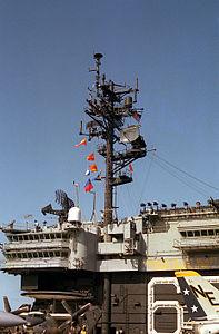 Mast of USS Kitty Hawk (CV-63) in 1983.JPEG