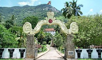 Abhidharma - The main entrance of the Aluvihare Rock Temple, where the Tipitaka was first written down
