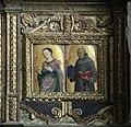 Matera, san francesco, interno, organo settecentesco con cantoria che ingloba pannelli di lazzaro bastiani, 06.jpg