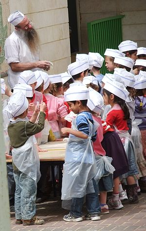 Matzo - Children in Ofra preparing matzo