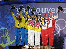 Medal ceremony for the women's team sprint.jpg