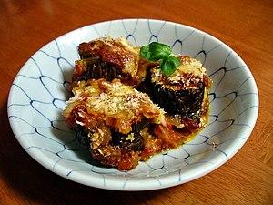 Melanzane alla Parmigiana, baked aubergines wi...