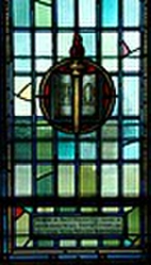 Alpha - Memorial Stained Glass window, Royal Military College of Canada features Alpha and Omega