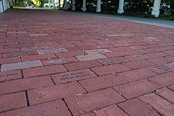 Engraved memorial bricks lining the Lexington Depot sidewalk