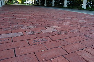 Lexington, Massachusetts - Engraved memorial bricks lining the Lexington Depot sidewalk