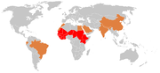 Demography of meningococcal meningitis. Red: meningitis belt, orange: epidemic meningitis, grey: sporadic cases