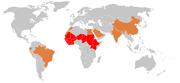 Demography of meningococcal meningitis. Red: meningitis belt, orange: epidemic meningitis, grey: sporadic cases