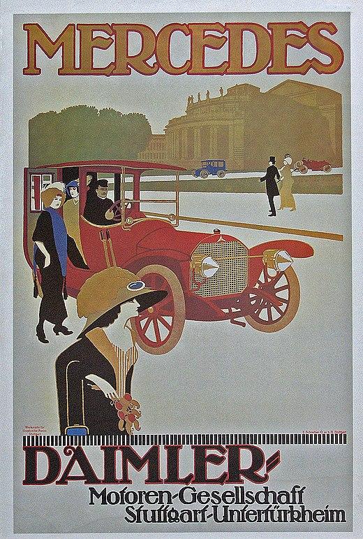 39cf1a668 شركة محركات دايملرملصق لسيارة مرسيدس فايتون (1908)