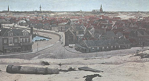 Panoramic painting - Scheveningen village, a small section of the Panorama Mesdag (1880–1881), with false terrain in the foreground.
