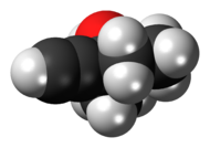 Space-filling model of methylpentynol
