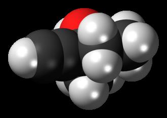 Methylpentynol - Image: Methylpentynol molecule spacefill