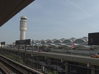 Ronald Reagan Washington National Airport - A view of Reagan National Airport from the Washington Metro