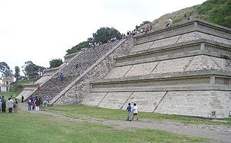 Cholula (Mesoamerican site) - Only a fraction of a staircase on one side of the Great Pyramid of Cholula has been restored to its former state.