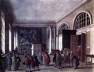 HM Customs and Excise - The Excise Office, Broad Street, London in 1810: former headquarters of the Board of Excise.