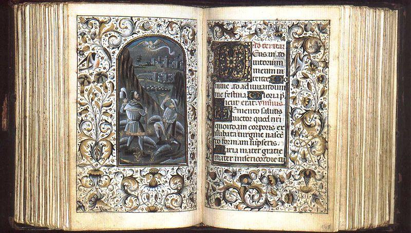 Das nur ca. 13x9 cm. messende Mailänder Stundenbuch[8] (Burgund, 15. Jahrhundert) ist ein Beispiel eines privaten Stundenbuches des Spätmittelalters.