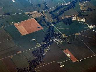 Milford, Decatur County, Indiana - Milford from the air, looking northeast
