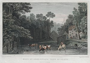 An Overshot Mill in Aberdulais, Wales - Image: Mill at Aber Dylais, vale of Neath, Glamorganshire