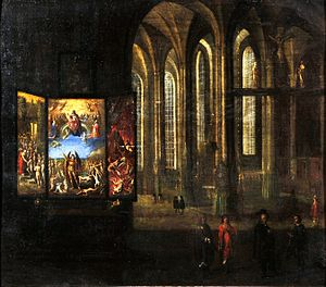 St. Mary's Church, Gdańsk - Interior of St. Mary's, 1635, by Bartholomäus Milwitz, also depicting the Last Judgment by Hans Memling