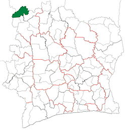 Location in Ivory Coast. Minignan Department has had these boundaries since 2011.